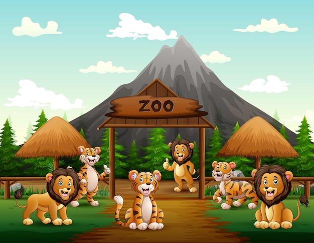 Cartoon leeuwen en tijgers spelen in de ingang van de dierentuin