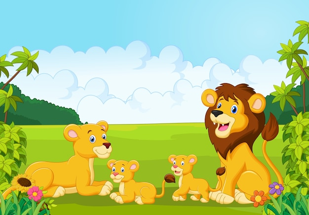 Cartoon leeuwenfamilie
