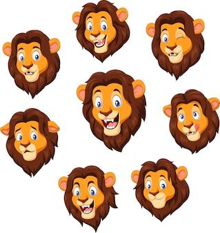 Cartoon leeuwenkop met verschillende expressie