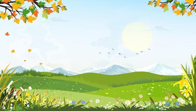 Cartoon lente landschap met bergen, blauwe lucht en wolken