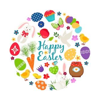 Cartoon lente vrolijke pasen afdrukbare vector banner met eieren, konijntjes en bloemen