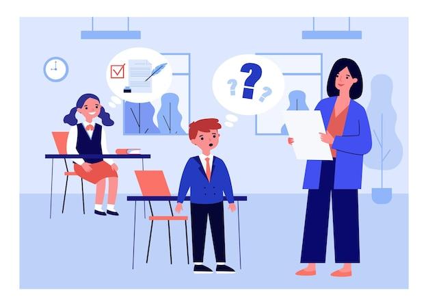 Cartoon leraar lesgeven voor excellente en slechte leerlingen.