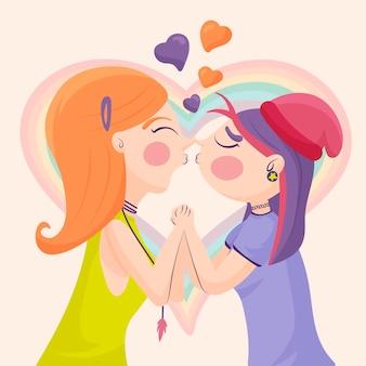 Cartoon lesbisch koppel kus illustratie