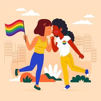 Cartoon lesbische kus illustratie