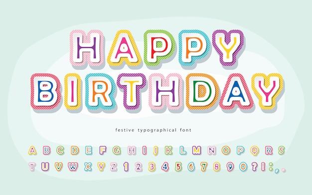 Cartoon lettertype voor kinderen happy birthday