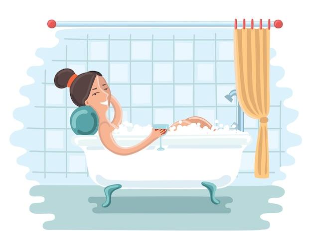 Cartoon leuke illustratie van vrouw ontspannen in bad