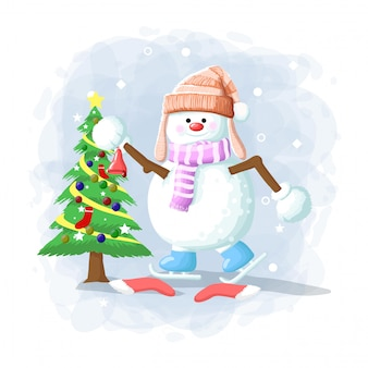 Cartoon leuke sneeuwpop kerst illustratie