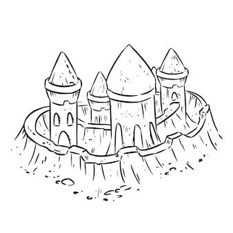 Cartoon lineart hand getekende zandkasteel, fort of fort met torens. leuke schets