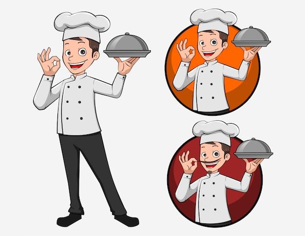 Cartoon logo chef illustratie mascotte