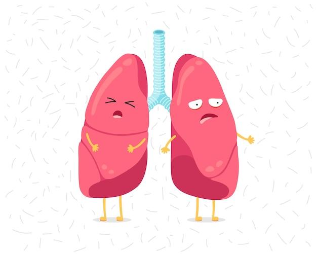 Cartoon longkarakter bang stof of gevaarlijke virale infecties menselijk inwendig orgaan voorkomt ziek