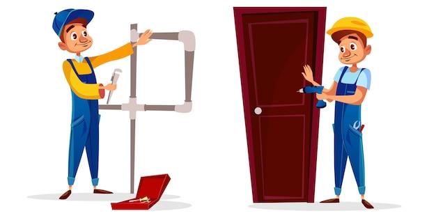 Cartoon loodgieter en technicus werknemer tekens instellen. mannelijke professionele service man