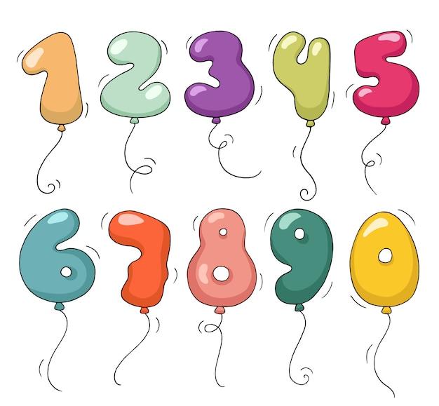 Cartoon lucht ballonnen in de vorm van getallen