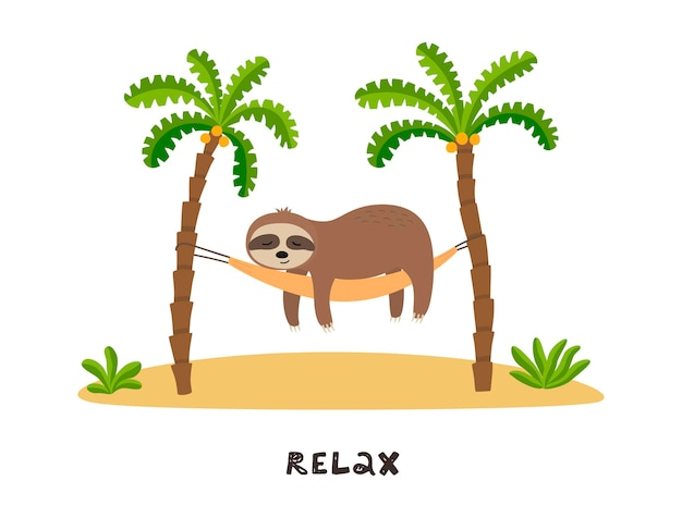 Cartoon luiaard slaapt in hangmat onder palmbomen.