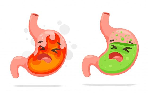 Cartoon maag die lijdt aan zure reflux.