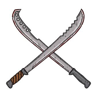Cartoon machete. twee geïsoleerde gekruiste machetes. illustratie.