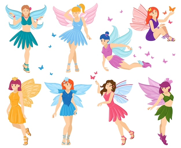 Cartoon magische sprookje kleine feeën tekens. schattige kleine vliegende feeën, grappige fantasie fee meisjes mascottes vector illustratie set. magische sprookjeswezens
