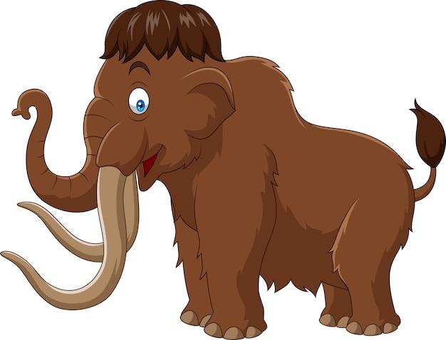 Cartoon mammoet geïsoleerd op een witte achtergrond