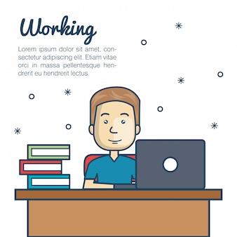 Cartoon man aan het werk laptop werkplek