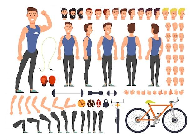 Cartoon man atleet vector karakter constructor met set van lichaamsdelen en sportartikelen
