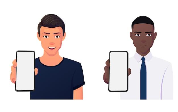 Cartoon man bedrijf weergegeven: leeg telefoonscherm