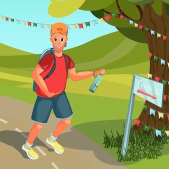 Cartoon man draait op het goede spoor buitenshuis in park