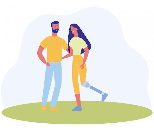 Cartoon man en vrouw been prothese houden hand