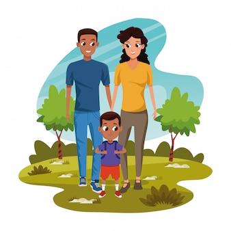 Cartoon man en vrouw met kleine jongen in het park
