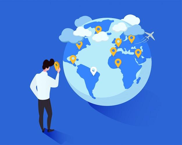 Cartoon man geotags plaatsen op wereldbol