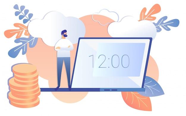 Cartoon man kijk naar notebook scherm twaalf uur