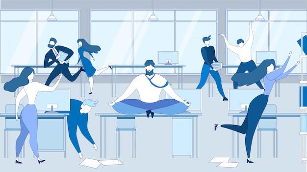 Cartoon man mediteren kantoortafel beklemtoonde mensen