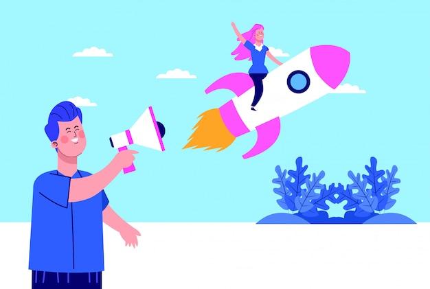 Cartoon man met behulp van een megafoon en vrouw op raket op sky