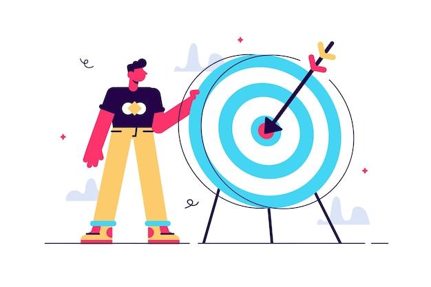 Cartoon man met dartbord met voltreffer op doel