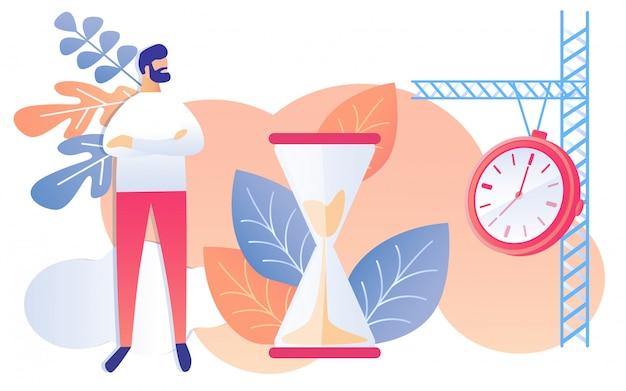 Cartoon man met handen gekruist horloge zandloper