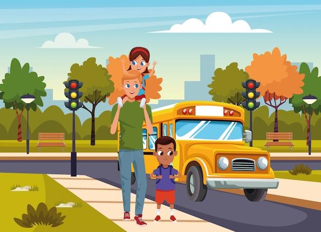 Cartoon man met kinderen lopen in de straat over schoolbus en park