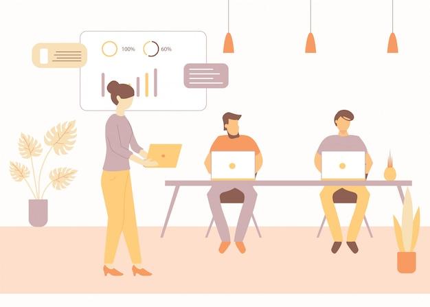 Cartoon man met laptop vrouw kantoor werknemer praten