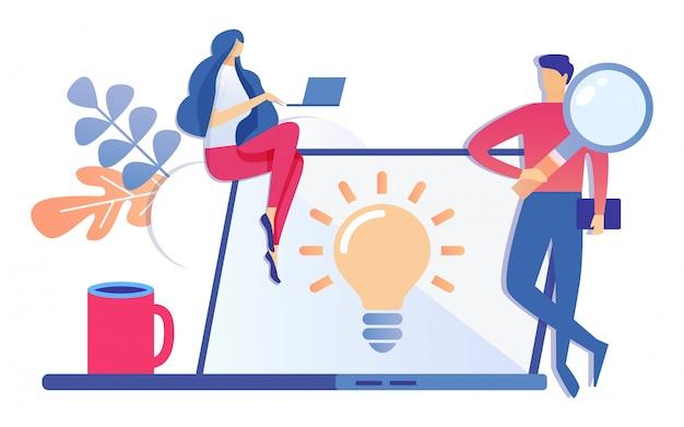 Cartoon man met vergrootglas lamp op scherm