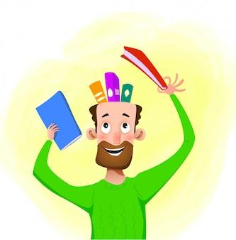 Cartoon man neemt een boek, vector cartoon