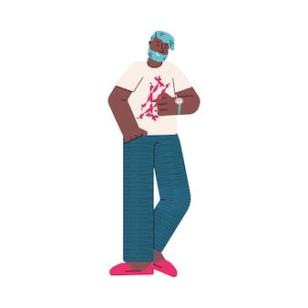 Cartoon man op zoek op tijd op polshorloge - afrikaanse man met polshorloge