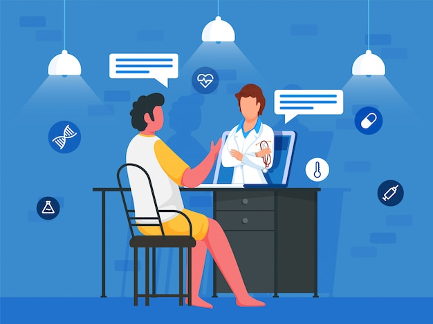 Cartoon man praten met arts vrouw in laptop thuis met medische elementen op blauwe achtergrond.