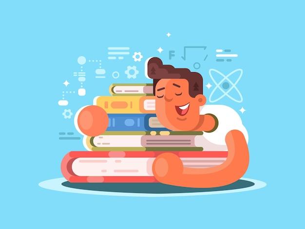 Cartoon man slaap op boek. student die huiswerk bestudeert. vector illustratie