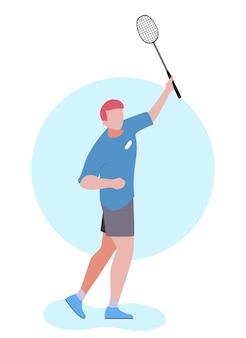Cartoon man speelt badminton geïsoleerde illustratie