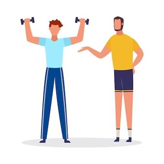Cartoon man tillen gewichten met persoonlijke coach. sportcoach die cliënt helpt