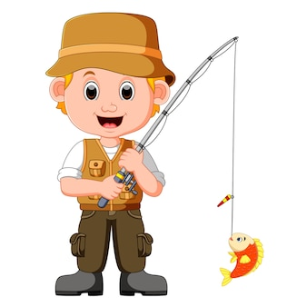 Cartoon man vissen