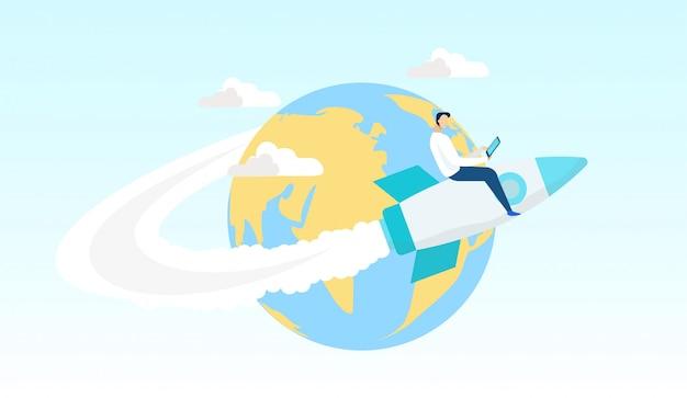 Cartoon man vliegen op raket rond wereld plat.