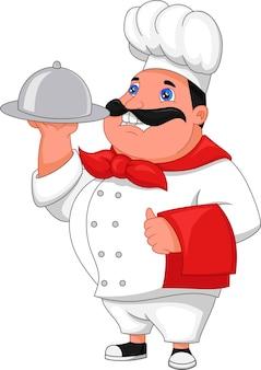 Cartoon mannelijke chef geïsoleerd op wit