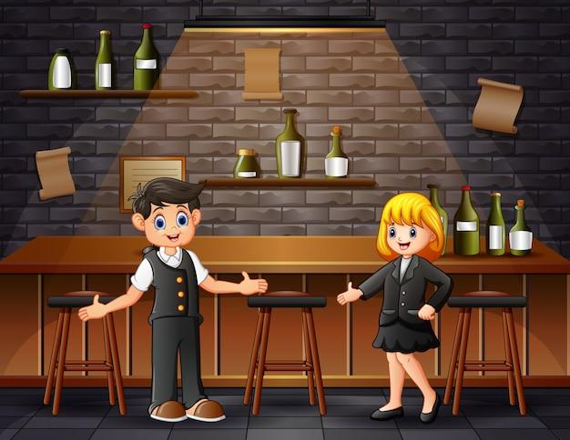 Cartoon mannelijke en vrouwelijke barmannen op de bar