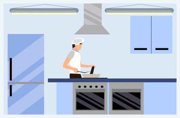 Cartoon mannelijke kok bereiden voedsel in de keuken kamer