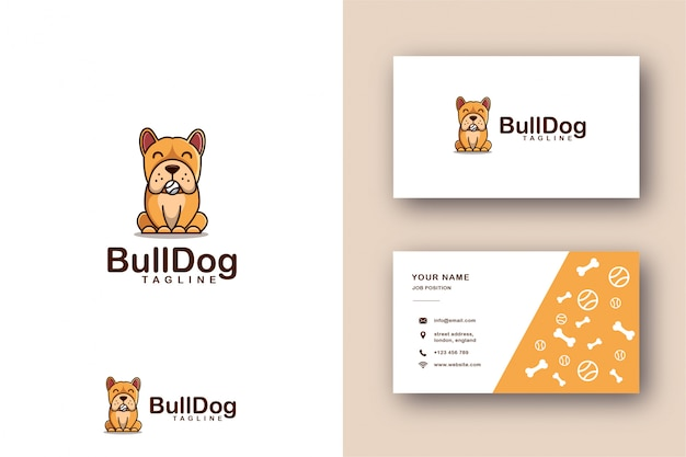 Cartoon mascotte logo van bulldog en visitekaartjes sjabloon