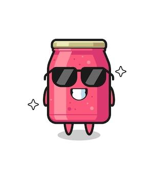 Cartoon mascotte van aardbeienjam met cool gebaar, schattig design