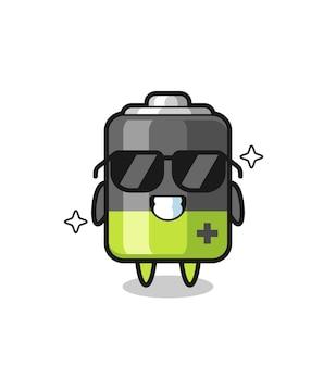 Cartoon mascotte van batterij met cool gebaar, schattig stijlontwerp voor t-shirt, sticker, logo-element